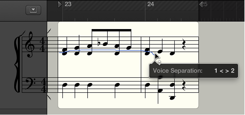 Figure. Voice Separation tool between two notes in the Score Editor.