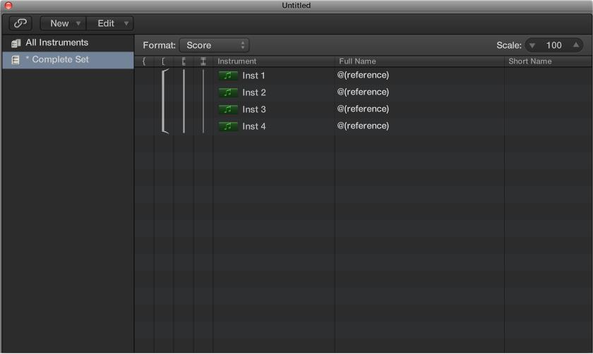 Figure Instrument column in the Score Set window.