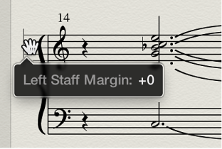 Figure. Layout tool over left margin of staff system.