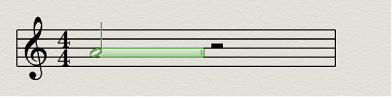 Figure. Note duration bar in the Score Editor.