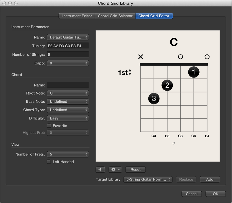 Figure. Chord Grid Editor pane in the Chord Grid Library window.