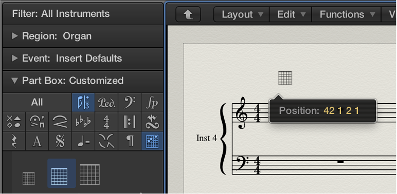 Figure. Dragging a chord grid symbol into the Score Editor.