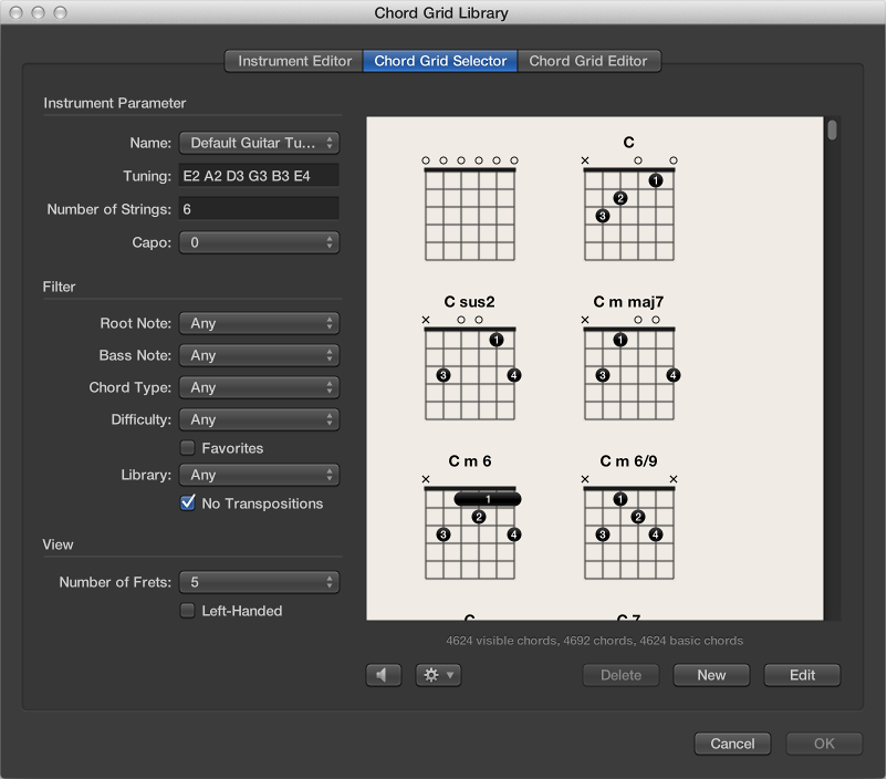 Figure. Chord Grid Selector pane in the Chord Grid Library window.