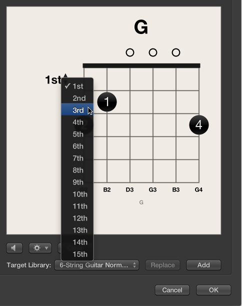 Figure. Choosing a fret number from the pop-up menu.