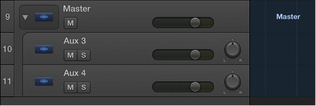 Figure. Master track open, showing aux subtracks.