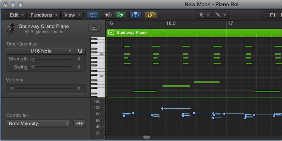 Figure. Showing MIDI Draw in the Piano Roll Editor.