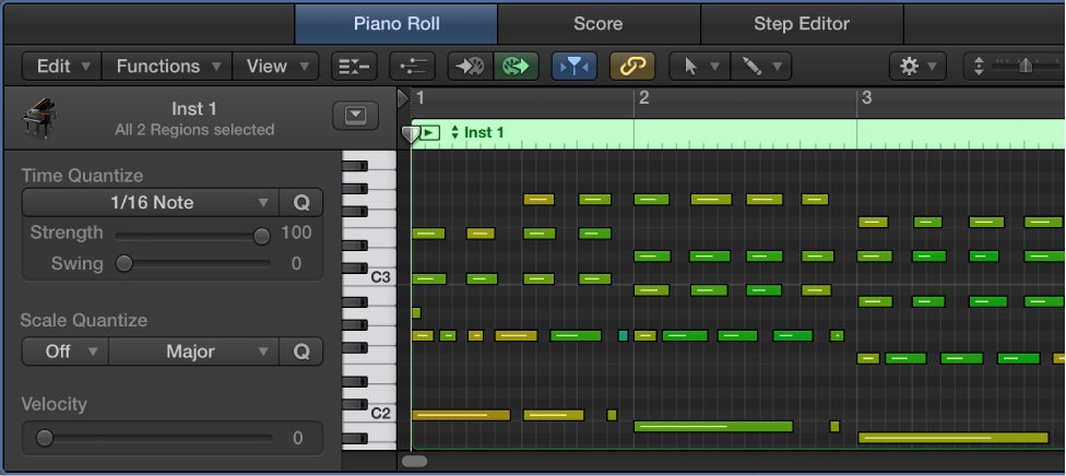 Figure. Quantizing notes in the Piano Roll Editor.