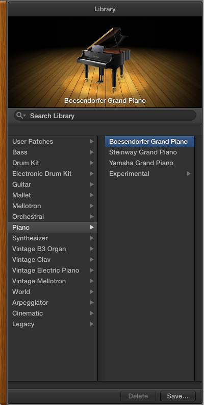 Figure. The Library with the Piano category and a Grand Piano patch selected.