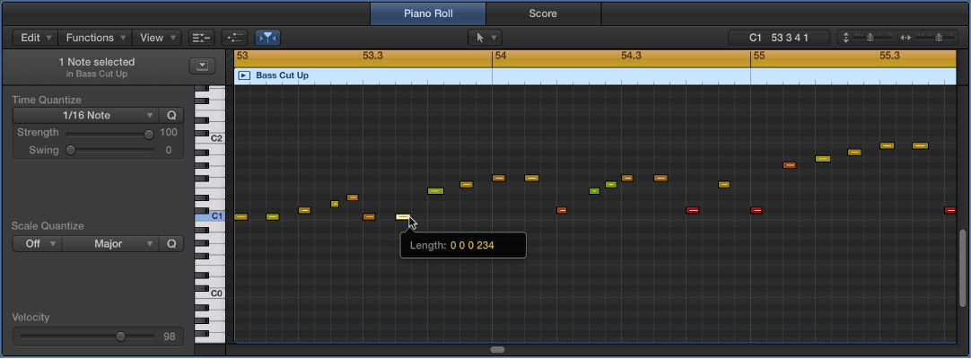 Figure. Editing a MIDI note event in the Piano Roll Editor.