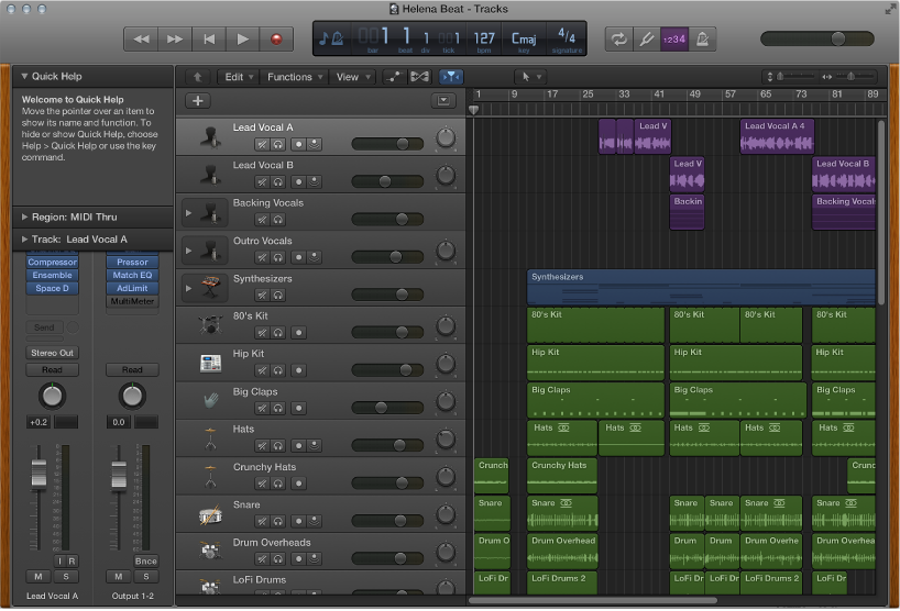 Figure. Logic Pro showing the Tracks area for the demo project.