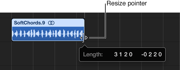 Figure. Resizing a region in the Tracks area. The Help tag shows the length of the region.