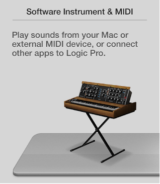 Figure. Selecting the Software Instrument & MIDI button in the New Tracks dialog.