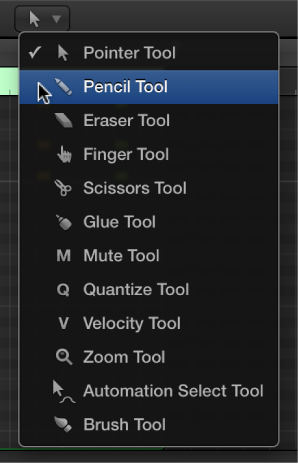 Figure. The Tool menu in the Piano Roll Editor, with the Pencil tool selected.
