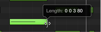 Figure. Dragging the lower-right edge of a MIDI note in the Piano Roll Editor. The Help tag shows the note length.