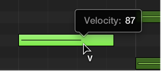 Figure. Editing the velocity of a MIDI note in the Piano Roll using the Velocity tool. The Help tag shows the Velocity value.