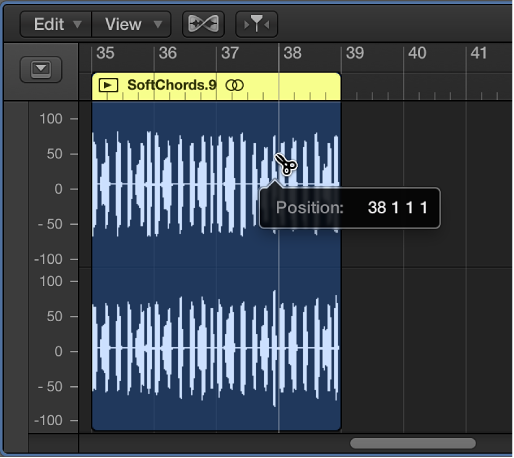 Figure. Editing an audio region in the Audio Track Editor.