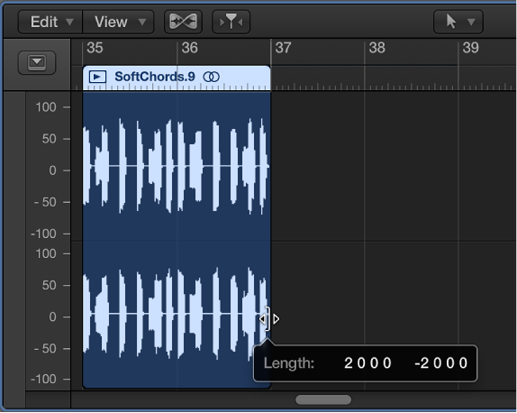 Figure. Trimming an audio region in the Audio Track Editor. The Help tag shows the region length.