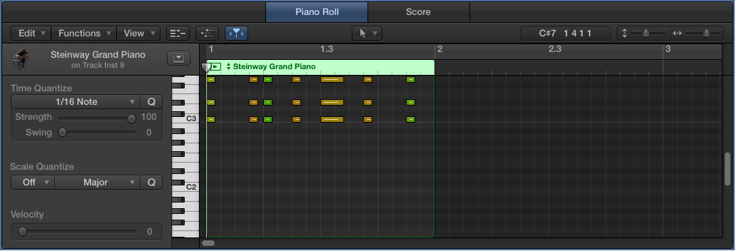Figure. The Piano Roll Editor showing a MIDI region with note events.
