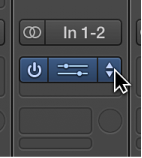 Figure. Holding the pointer over the rightmost part of an Effect slot, to choose a different plug-in.