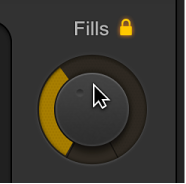 Figure. Dragging the Fills knob in the Drummer Editor.