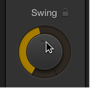Figure. Dragging the Swing knob in the Drummer Editor.