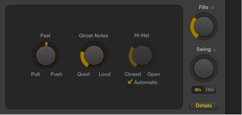 Figure. Drummer Editor with the Details button selected, showing the Feel, Ghost Notes, and Hi-Hat knobs.