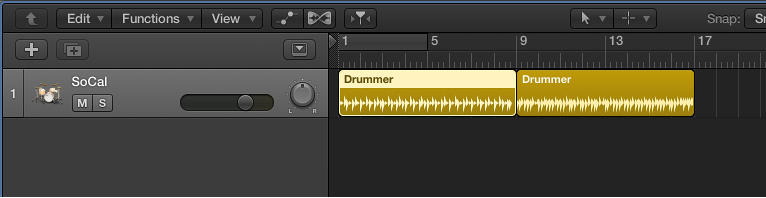 Figure. A Drummer track containing two 8-bar regions.
