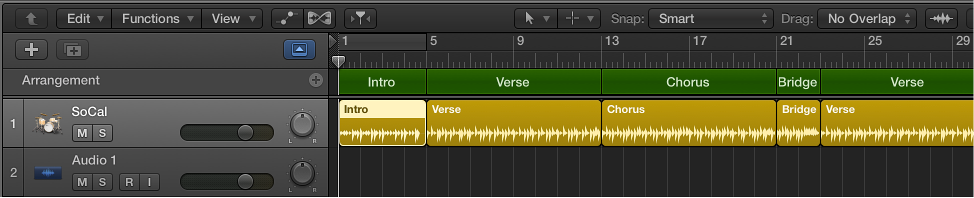 Figure. A Drummer track containing five regions to match the five arrangement markers.