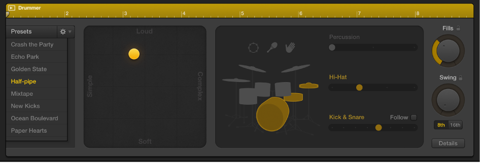 Figure. Drummer Editor right side showing region-based settings.