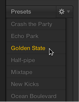 Figure. Choosing a preset in the Drummer Editor.