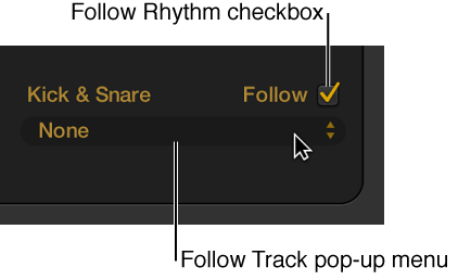 Figure. Follow checkbox and Follow Track pop-up menu in the Drummer Editor.