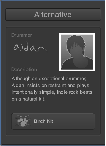 Figure. The character card for the drummer Aidan.