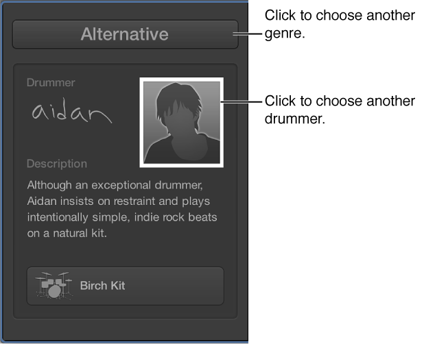Figure. Showing how to choose another genre or drummer.