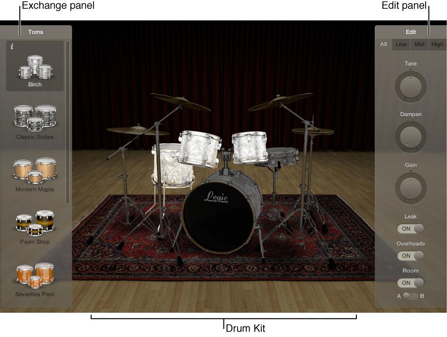 Figure. Drum Kit Designer showing the drum kit, Exchange panel, and Edit panel.