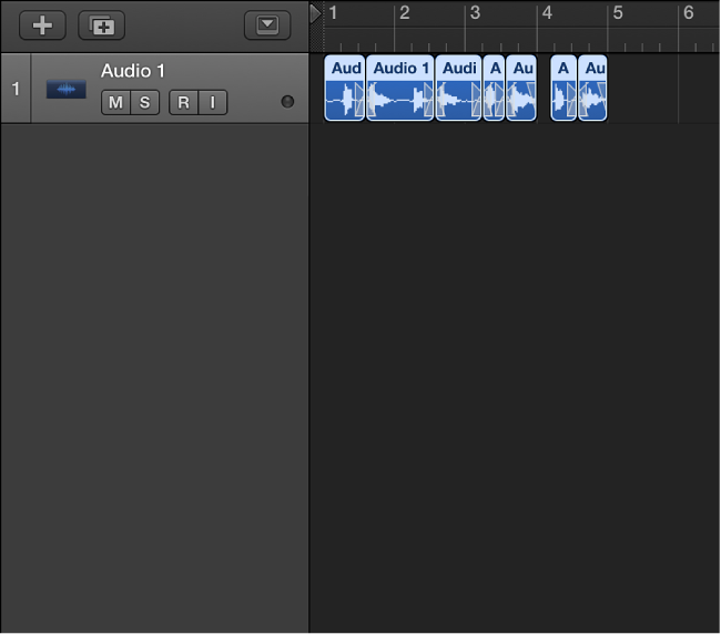 Figure. Showing the flattened take folder, with the resulting regions on an audio track.