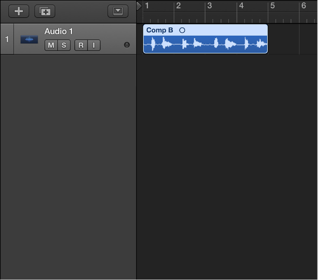 Figure. Showing the flattened take folder, with the resulting regions merged on an audio track.