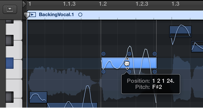 Figure. Dragging a note vertically in the Audio Track Editor.