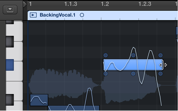 Figure. Dragging the right edge of a note in the Audio Track Editor.