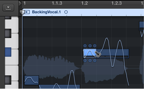 Figure. Cutting a note with the Scissors tool in the Audio Track Editor.