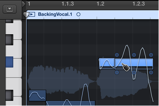 Figure. Merging two notes with the Glue tool in the Audio Track Editor.