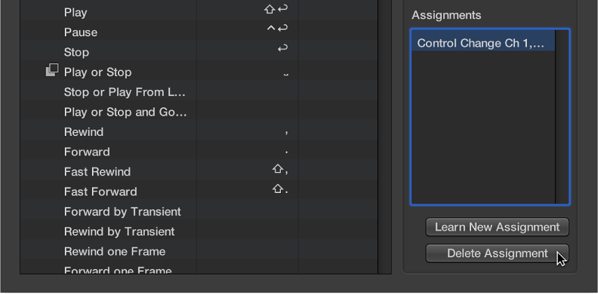 Figure. Deleting a controller assignment.