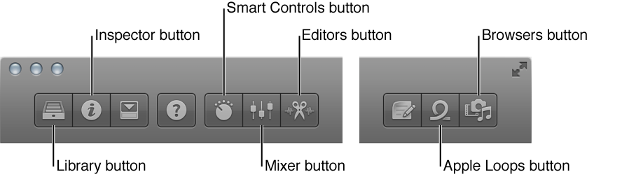 Figure. Control bar, with buttons for different working areas.