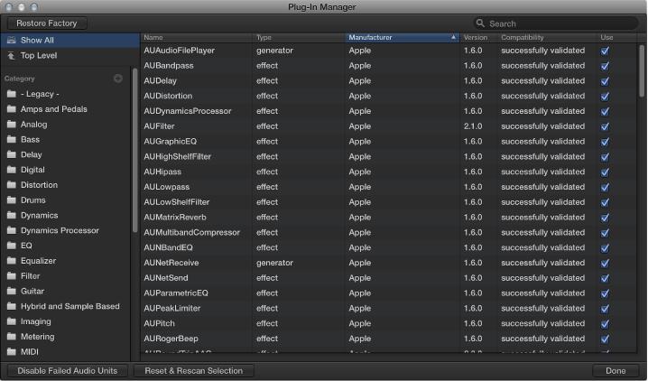 Figure. Audio Units Manager window.