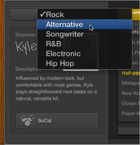 Figure. Drummer Editor showing genre pop-up menu.