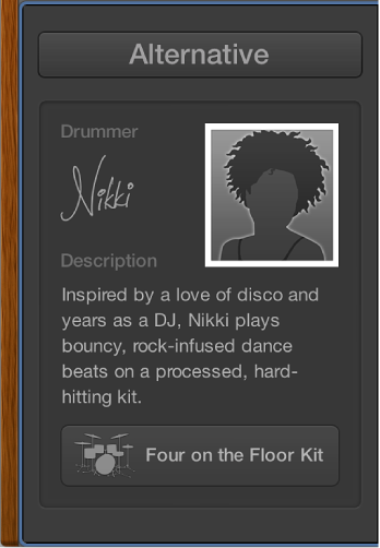 Figure. Drummer Editor showing drummer card.