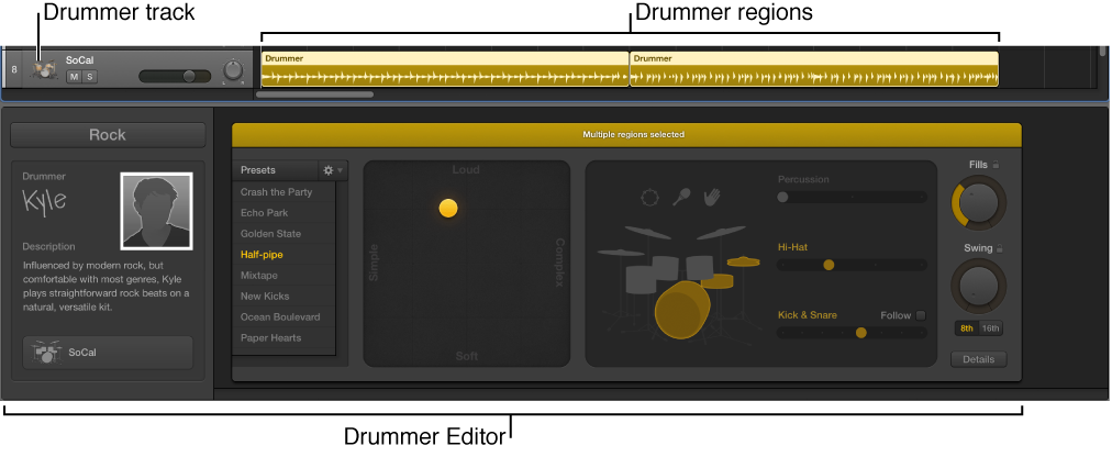 Figure. Shows a Drummer track containing Drummer regions, and the Drummer Editor.