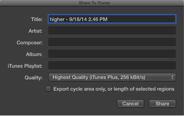 Figure. Share to iTunes dialog.