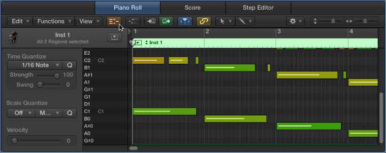Figure. Piano Roll Editor, pointing out Collapse Mode button.