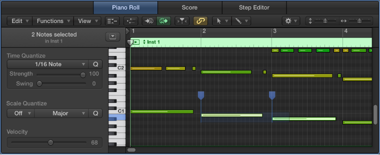 Figure. Piano Roll Editor, showing flex markers.