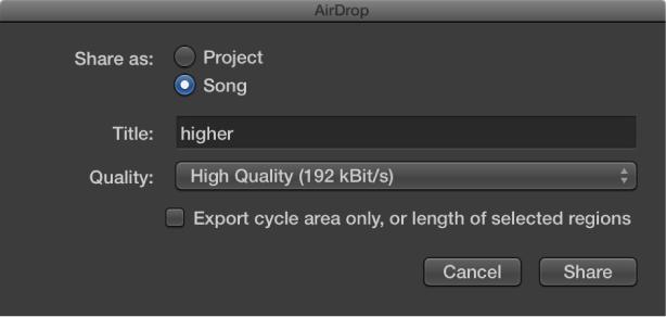 Figure. AirDrop dialog.